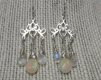Sterling Silver White Ethiopian Opal and Rainbow Moonstone Wire Wrapped Chandelier Earrings