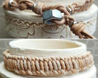 Mens braided leather bracelet