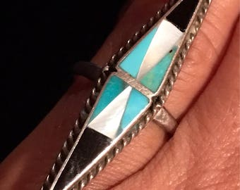 Vintage Zuni Inlay Ring -1960's, Size 6, Dramatic Design Artisan Crafted