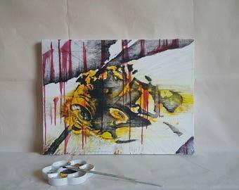 Evil is A Matter • Vibrant yet Disturbing Original Abstract Art. Dark Art. Negative Space, Yellow and Black Hornet Wasp. Nature Wall Art.