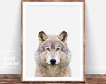 Wolf Print, Forest Animal, Wolf Poster, Woodlands Nursery Animal Wall Art, Nursery Wolf, Baby Woodland Decor, Best Printable Art For Nursery