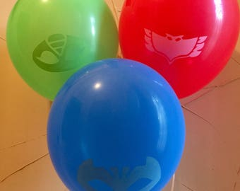 PJ Masks Balloons PJ Masks Latex Balloon Blue Red Green Birthday 6 pcs