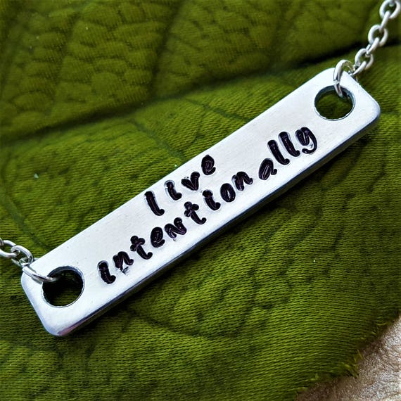 Running Bar Charm Necklace, Live Intentionally Quote, CrossFit Charms, CrossFit Runner Charms, Motivational Quotes, Marathon Jewelry Gifts