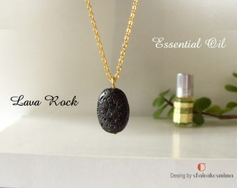 Essential Oil Diffuser Necklace, Lava Rock Perfume Diffuser Pendant, Black Oval Lava Necklace, Sterling Silver, Gold Lava, Aromatherapy