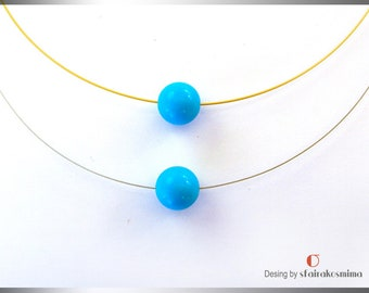 Single Turquoise Necklace, One Stone Necklace, Dainty Turquoise Necklace, Gold Turquoise, Bridesmaid gift, Simple Turquoise Pendant,