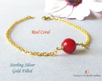 Red Coral Bracelet, Sterling Silver Coral Bracelet, Gold Coral Bracelet, Simple Real Coral Bracelet, Bridesmaid Gift, Minimal Bracelet