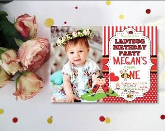 Ladybug Invitation Ladybug Birthday Invitation First Birthday Invitation ONE Digital 4x6 or 5x7 Digital Printable invitation