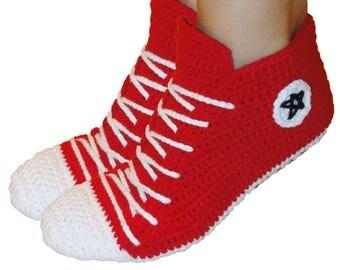 Crochet Converse, Slippers,  Women slippers, Women sneakers , Crochet  Shoes, Men sneakers.