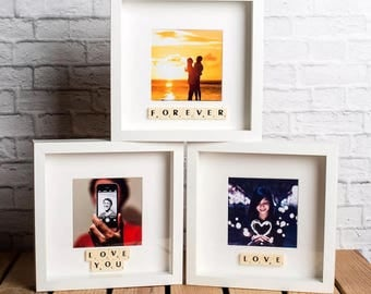Scrabble box photo frame - personalised with message for a loved one
