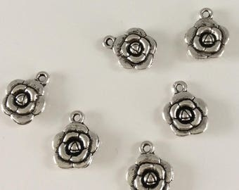 Pink set of 5 Silver Flower charm