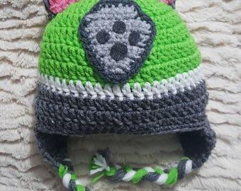 Paw Patrol inspired Rocky crocheted hat