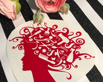 Hairdresser vinyl decal , hair dresser , hairstylist gift , woman with brushes in her hair , hair with styling tools , salon owner sticker ,