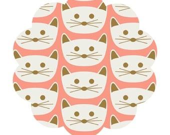 Cat nap knit fabric. Modern print knit fabric. Blush collection. Blush pink gold cream knit fabric. DIY sewing/craft knit fabric.