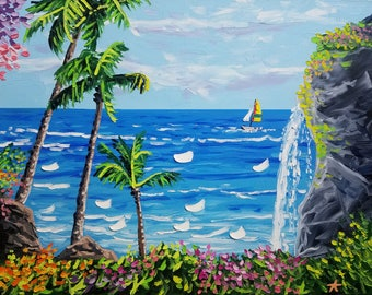 Palm tree painting, large wall art, seascape oil painting on canvas, by Ryan Kimba