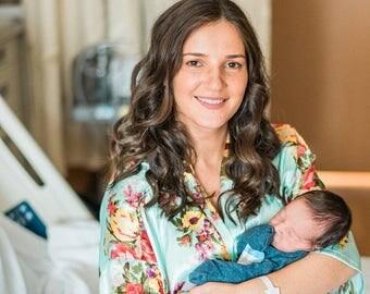 Maternity robe, hospital robe, nursing robe, maternity gown, floral nursing gown, baby shower gift, bridal shower gift, satin floral (R002)