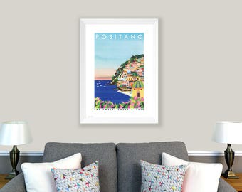 POSTER Positano, Italy. Print of original collage. Cliffside village, Amalfi Coast, Italy. Coloured houses, sunset, Home decor, office decor
