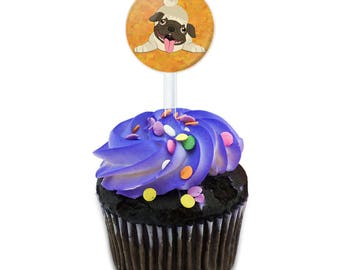 Silly Pug Cake Cupcake Toppers Picks Set
