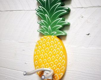 Ukulele wall mount, ukulele holder. Handpainted Pineapple design ukulele hanger, ukulele hook.