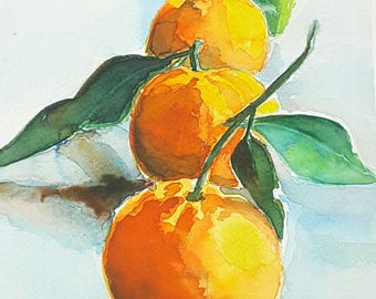 Three tangerines, giclée fine art print of original watercolor artwork, gift idea for her, new kitchen, traditional restaurant, living room.