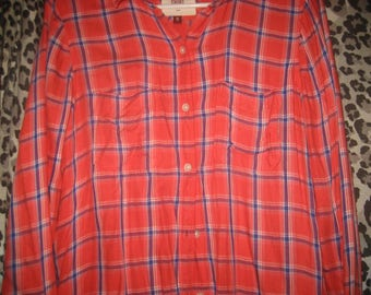 Long Sleeved Red Plaid/Checkered Soft and Comfortable Button Up Shirt