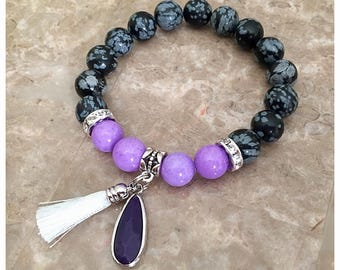Boho Bracelet, Purple Bracelet, Tassel Bracelet, Tassel Jewelry, Charm Bracelet, Beaded Bracelets, Stretch Bracelet