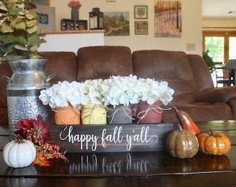 Fall Mason Jar Decor. Fall Centerpiece. Fall Table Decor. Fall Mason Jars. Painted Mason Jars. Happy Fall Yall. Mason Jar Decor. Fall Decor