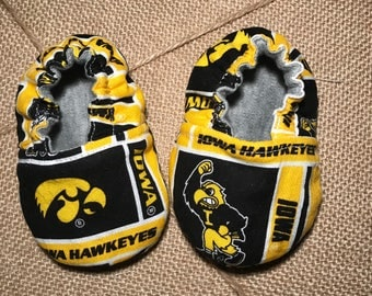 Iowa Hawkeyes Reversible Soft Sole Crib Shoe Baby Shoe Baby Mocs Football Baby Gift Baby Shower baby booties baby slippers