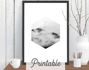 Hexagon Cloud Mountain PRINTABLE Print | Scandi Wall Art | Modern Room Decor | Minimalist Downloadable Poster