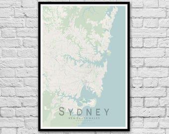 SYDNEY New South Wales City Street Map Print | Wall Art Poster | Wall decor | A3 A2
