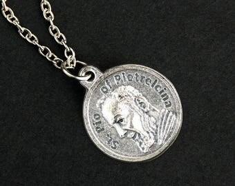 St Pio of Pietrelcina Necklace. Catholic Saint Pio Prayer Necklace. Round Medal Necklace. Catholic Jewelry. Patron Saint Pio Necklace.