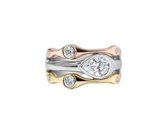 Horizontal Bezel Set Pear Shape Diamond Ring, 14K Gold Bezel Setting, Pear Shape Ring, Multi-stone Ring, Horizontal Set Ring, Unique Ring