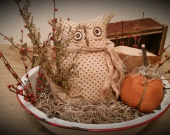 primitive fall owl shelf sitter, Autumn owl ornie, Fall owl tuck, OFG, FAAP, owl with Sweet Ann and orange pip berries, Fall decor, prim owl