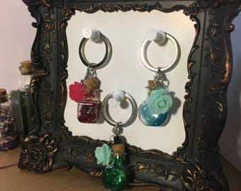 Potion Bottle Keychains with Rose Charm