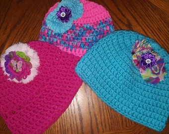 Custom Crocheted Toboggans with shabby flowers removable clip