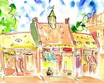 CUSHING SQUARE Boutiques by Jane Staffier**Fine Art Print*Notecards*Watercolor*Jane Staffier*Cushing Square*Belmont Ma*New England Art*Gift