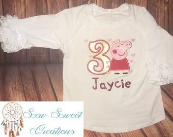Peppa Pig Inspired Birthday Shirt