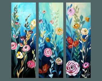 """SALE, Original Painting, Set of 3 Abstract Flower Painting, Modern painting, Contemporary Art, Wall Decor 36""""x36"""" Ready to Hang"""