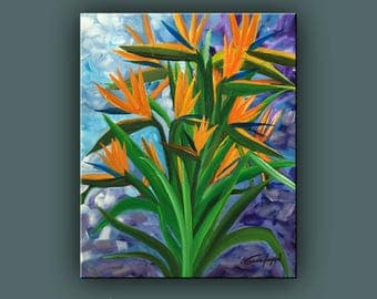"SALE, Bird of Paradise Flower painting, Abstract Painting, Contemporary Art, Modern Art, 24""x20"" Ready to Hang"