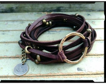 Karma•Infinity Circle- Leather with Bronze Accent Beads- Dark Chocolate//6X Wrap Bracelet//Boho Wrap - Deerskin Leather/Stamped Lotus Charm