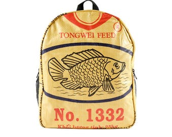 Backpack made of cement bag (motive: fish yellow black)
