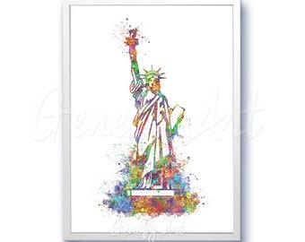 Statue of Liberty Watercolor Art Print  - New York City Watercolor Poster - Skyline Watercolor Painting OfficeDecor Wall Decor Home Decor