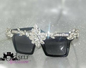 Fashionable statement crystallized  embellish sunglasses, shades, eyewear selfxpression