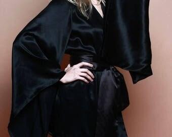 Silk kimono/ Silk kimono short/ Satin kimono robe/ Satin robe/ Silk robe/
