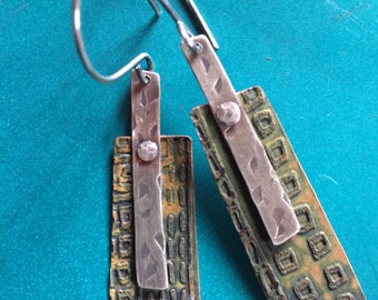 Etched Copper Earrings with Sterling Silver Riveted Accents