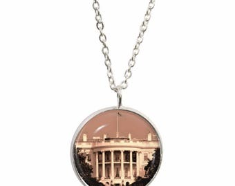 White House Pendant and Silver Plated Necklace