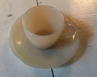 Vintage white Jadite demitasse cup and saucer.