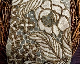 Elegant Embroidery Lace Trim, Fancy Lace, Bridal Lace Trim, Wedding Lace, Vintage Lace Trim, Fawn Embroidery Lace, Gold Wire Embroidery Lace