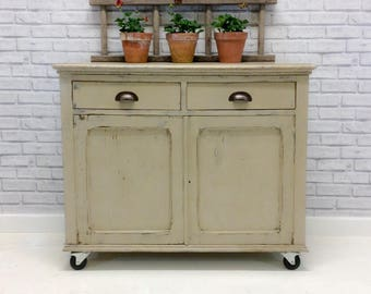 Rustic Industrial Style Country Grey Sideboard/ Cupboard/ Dresser With 2 Drawers