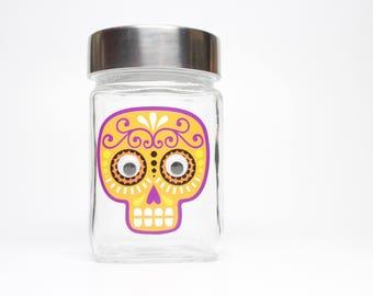 Orange & Purple Sugar Skull Stash Jar