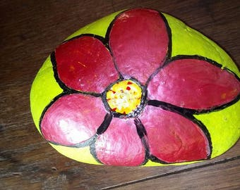 painted stone by hand